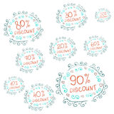 Vector Set of Sketch Discount Tags Royalty Free Stock Photos