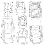 Vector Set of Sketch Doodle Backpacks Stock Images