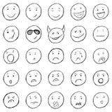 Vector Set of Sketch Emoticons. Variations of Smileys royalty free illustration