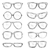 Vector Set of Sketch Eyeglass Frames Stock Image