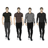 Vector Set of Sketch Fashion Male Models Royalty Free Stock Images