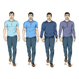 Vector Set of Sketch Fashion Male Models Stock Photos