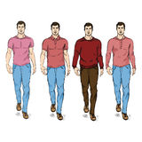 Vector Set of Sketch Fashion Male Models Royalty Free Stock Photos