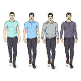 Vector Set of Sketch Fashion Male Models Royalty Free Stock Image