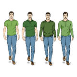 Vector Set of Sketch Fashion Male Models Stock Photo