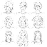 Vector Set of Sketch Female Faces vector illustration