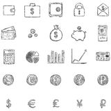 Vector Set Of Sketch Finance Icons Stock Images