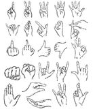 Vector set of sketch finger gestures. On White Background Royalty Free Stock Photos