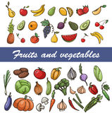 Vector set of sketch fruit and vegetables Royalty Free Stock Photos