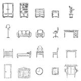 Vector Set Of Sketch Furniture Icons Stock Images
