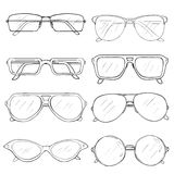Vector Set of Sketch Glasses. Eyeglass Frames Royalty Free Stock Photos