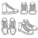 Vector Set of Sketch High Gumshoes. Side, Top and Front Views. Royalty Free Stock Photography