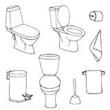 Vector set of sketch illustration toilets on a white background Stock Image