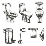 Vector set of sketch illustration on a white background  toilet Royalty Free Stock Photography