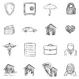 Vector Set of Sketch Insurance Icons. Vector Set of Isolated Sketch Insurance Icons Stock Image