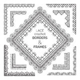Vector set of sketch lace crochet borders and frames. Stock Image
