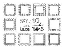 Vector set of 10 sketch lace crochet square frames. Stock Photos