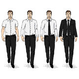 Vector Set of Sketch Men Models. Business Dress Code Royalty Free Stock Photo