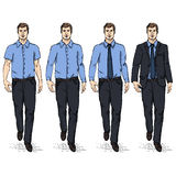Vector Set of Sketch Men Models. Business Dress Code Royalty Free Stock Images