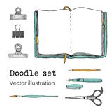Vector Set of Sketch Notebooks, Notepads and Diaries. Office stuff. Doodle stationery, pen, pencil, scissors. Color hand drawn ill. Ustration. Cartoon Design Royalty Free Stock Photos