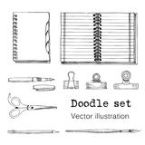 Vector Set of Sketch Notebooks, Notepads and Diaries.. Vector Set of Sketch Notebooks, Notepads and Diaries. Office stuff. Doodle writing supplies, pen, pencil Stock Photography
