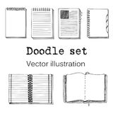 Vector Set of Sketch Notebooks, Notepads and Diaries.. Office stuff set. Hand drawing sketch vector illustration. Cool design elemements for infographic, web Stock Photos