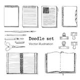 Vector Set of Sketch Notebooks, Notepads and Diaries. Office stuff set. Hand drawing sketch vector illustration. Cool design eleme. Ments for infographic, web vector illustration