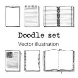 Vector Set of Sketch Notebooks, Notepads and Diaries.. Vector Set of Sketch Notebooks, Notepads and Diaries. Office stuff set. Hand drawing sketch vector Royalty Free Stock Image