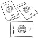Vector Set of Sketch Passports Stock Photography