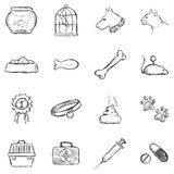Vector Set of Sketch Pets Icons Royalty Free Stock Images