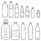 Vector Set of Sketch Plastic Bottles Royalty Free Stock Images
