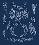 Vector Set of Sketch Plumage Royalty Free Stock Images