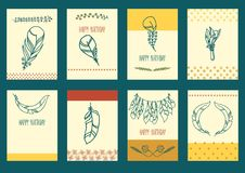 Vector Set of Sketch Plumage Stock Photos