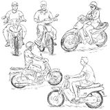 Vector Set of Sketch Riders on Motorbikes Stock Image