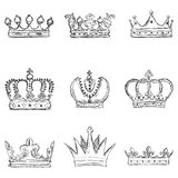 Vector Set of Sketch Royal Crown Icons Royalty Free Stock Photography