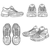 Vector Set of Sketch Running Shoes. Top, Side and Front Views Royalty Free Stock Photo