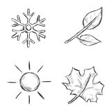 Vector Set of Sketch Season Icons Stock Photos