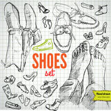 Vector Set of Sketch Shoes Stock Photos