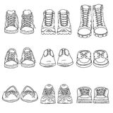 Vector Set of Sketch Shoes Items. Front View Collection Stock Photos