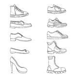 Vector Set of Sketch Shoes Items. Side View Collection Royalty Free Stock Image