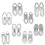 Vector Set of Sketch Shoes Items. Top View Collection Stock Photography