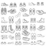 Vector Set of Sketch Shoes Items Royalty Free Stock Images
