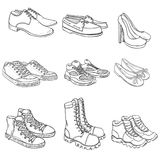 Vector Set of Sketch Shoes Items Royalty Free Stock Image