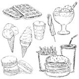Vector Set of Sketch Snack Food Royalty Free Stock Photos