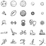 Vector Set of Sketch Sports Icons Royalty Free Stock Photos