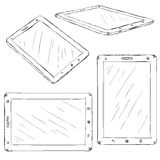 Vector Set of Sketch Tablet PC Stock Photo