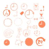 Vector set of sketch time icons Royalty Free Stock Images