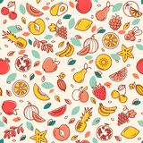Seamless pattern of various vector fruits. Background with color illustrations of many fruits. vector illustration