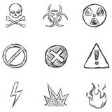 Vector Set of Sketch Warning  Icons. Vector Set of Isolated Sketch Warning Icons Royalty Free Stock Images