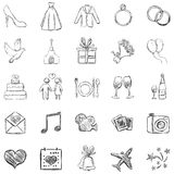 Vector Set of Sketch Weddings Icons Royalty Free Stock Image